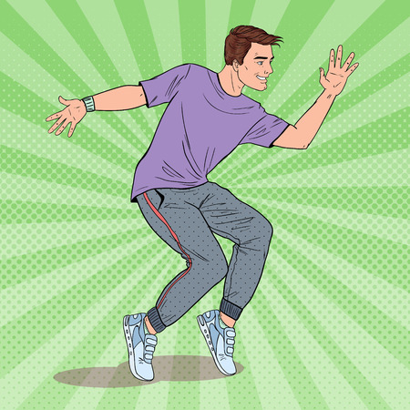 Pop Art Happy Young Hip Hop Dancer. Joyful Guy Dancing. Vector illustration
