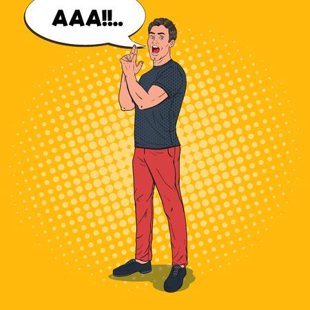 Pop Art Confident Man Posing with Finger Gun Gesture. Joyful Guy. Vector illustration