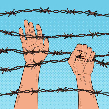 Pop Art Male Hands Holding a Barbed Wire. Human Rights Concept. Vector illustration Stock Illustratie