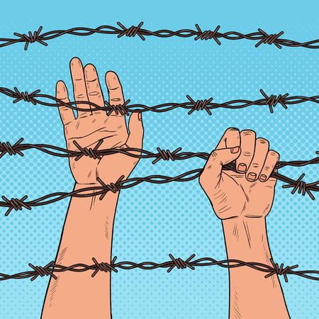 Pop Art Male Hands Holding un filo spinato. Concetto di diritti umani. Illustrazione vettoriale Archivio Fotografico - 98957066