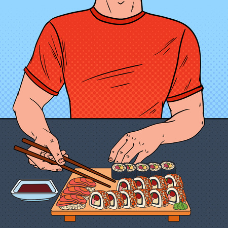 Pop Art Man Eating Sushi at the Asian Restaurant. Japanese Food. Vector illustration