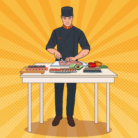 Pop Art Chef Making Sushi. Japanese Traditional Food Preparation Process. Vector illustration