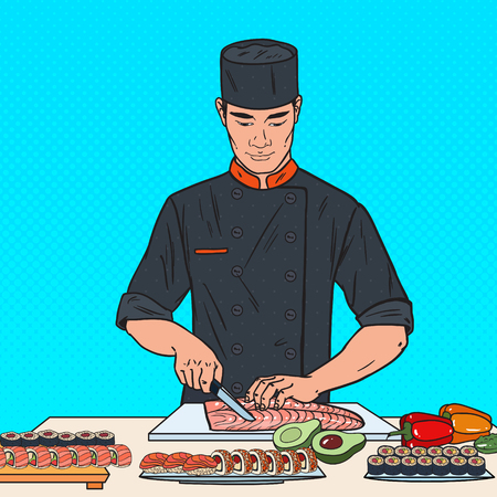 Pop Art Chef Preparing Sushi in Japanese Restaurant. Vector illustration