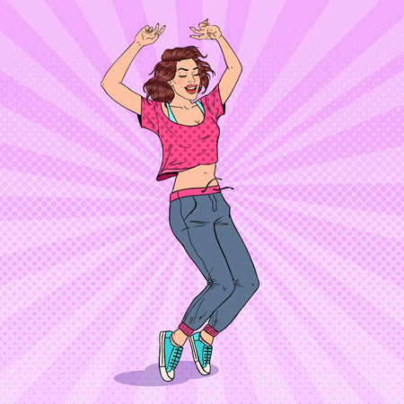 Pop Art Happy Young Woman Dancing. Excited Teenager Girl. Vector illustration Illustration