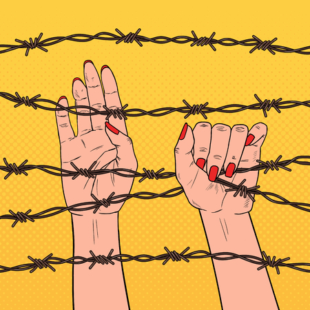 Pop Art Female Hands Holding a Barbed Wire. Human Rights Concept. Vector illustration