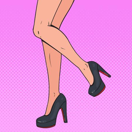 Pop Art Perfect Female Legs Wearing High Heels. Woman Beauty. Vector illustration