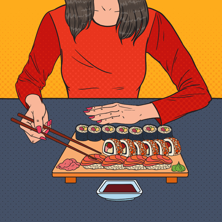 Pop Art Woman Eating Sushi at the Asian Restaurant. Japanese Food. Vector illustration