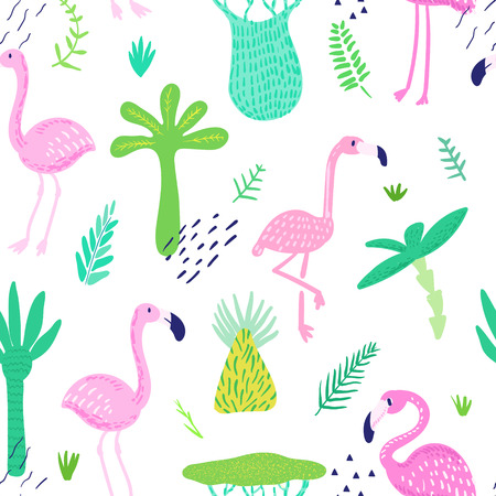 Tropical Seamless Pattern with Cute Flamingo and Palm Leaves. Childish Summer Background for Wallpaper, Fabric, Wrapping Paper, Decoration. Vector illustration Illusztráció