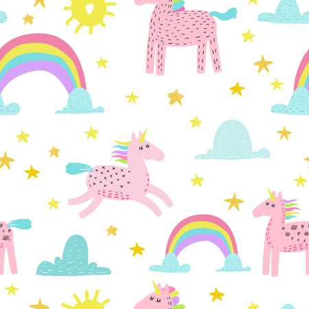 Seamless Pattern with Magic Unicorns and Rainbow. Childish Fairytale Background for Fabric Textile, Wallpaper, Wrapping Paper, Decoration. Vector illustration Ilustracje wektorowe