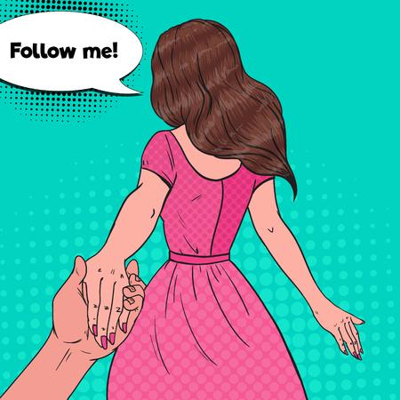 Pop Art Brunette Woman Holding Hands. Follow Me Journey Concept. Vector illustration