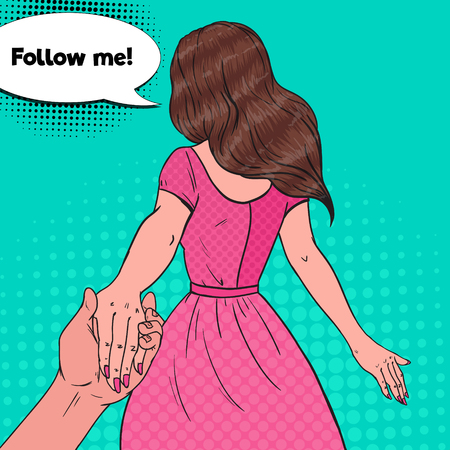 Pop Art Brunette Woman Holding Hands. Follow Me Journey Concept. Vector illustration