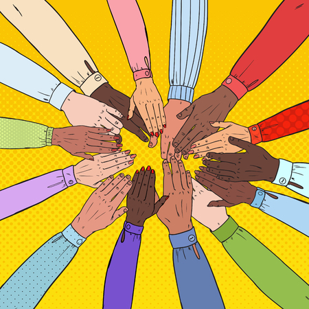Pop Art Multicultural Hands. Multiethnic People Teamwork. Togetherness, Partnership, Friendship Concept. Vector illustration Stock Illustratie