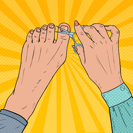 Pedicure Beauty Salon. Pop Art Female Hands Cares about Foot Nails. Fingernails Cutting with Scissors. Vector illustration Vetores