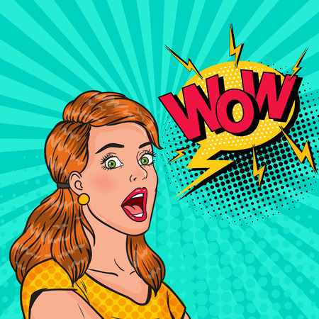Pop Art Surprised Girl with Open Mouth. Shocked Woman with Comic Speech Bubble Wow. Vintage Advertising Poster, Pin Up. Vector illustration