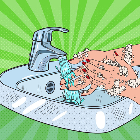 Pop Art Woman Washing Hands. Hygiene Skincare Health Care Concept. Female Hands Cleaning with Foam of Soap. Vector illustration Illustration