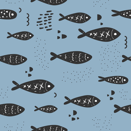 Childish Nautical Seamless Patterns with Cute Fish. Underwater Creatures Background for Fabric, Wallpaper, Wrapping Paper. Vector illustration
