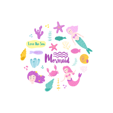 Childish Card with Cute Mermaids and Underwater Creatures. Little Girl Hand Drawn Marine Doodle for Greeting, Baby Shower, Print.