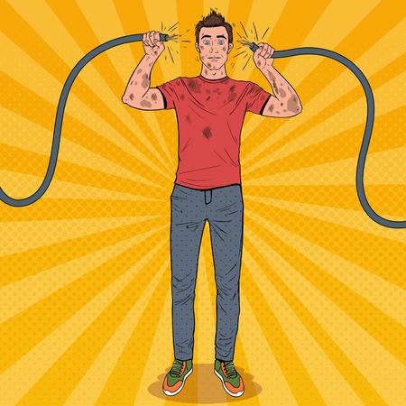 Pop Art Man tenant un câble électrique cassé après un accident domestique. Électricien sale drôle.