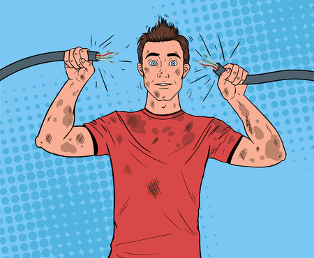 Pop Art Man Holding Broken Electrical Cable after Domestic Accident. Funny Dirty Electrician. Banque d'images - 100257954