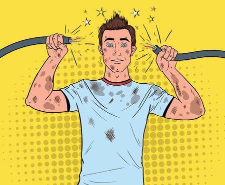 Pop-artu, człowiek trzymający uszkodzony kabel elektryczny po wypadku domowym. Śmieszny Brudny Elektryk. Ilustracje wektorowe