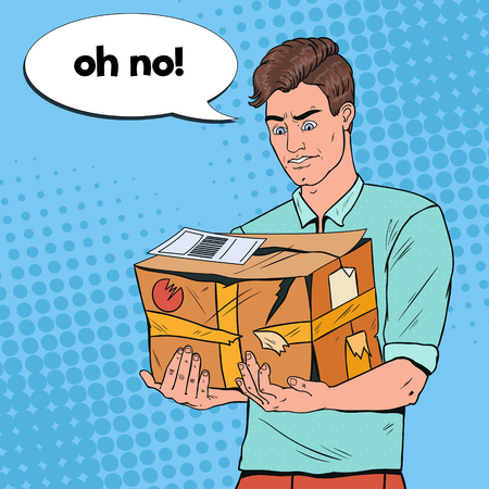 Pop Art Unhappy Man Holding Damaged Parcel. Unprofessional Delivery Service. Guy with Cracked Package.