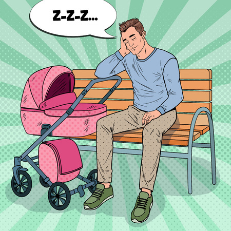 Pop Art Sleepless Young Father Sitting on the Park Bench with Baby Stroller. Parenting Concept. Exhausted Man with Newborn Child. Illustration