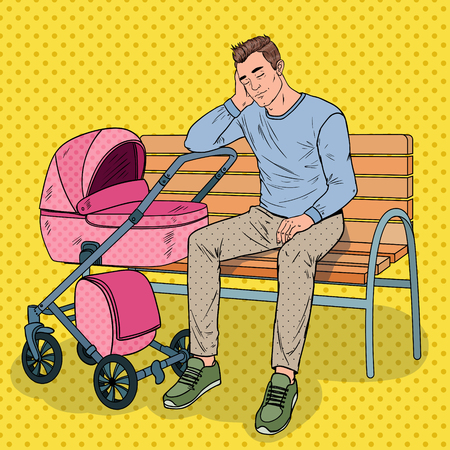 Pop Art Sleepless Young Father Sitting on the Park Bench with Baby Stroller. Parenting Concept. Tired Man with Newborn Child.