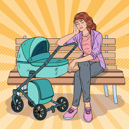 Pop Art Sleepless Young Mother Sitting on the Park Bench with Baby Stroller. Motherhood Concept. Tired Woman with Newborn Child.