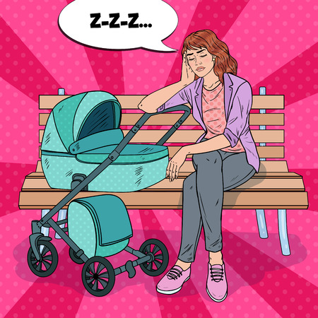 Pop Art Sleepless Young Mother Sitting on the Park Bench with Baby Stroller. Motherhood Concept. Exhausted Woman with Newborn Child. Illustration