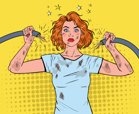Pop Art Beautiful Woman Holding Broken Electrical Cable after Domestic Accident.
