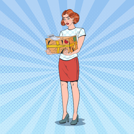 Pop Art Unhappy Woman Holding Damaged Parcel. Unprofessional Delivery Service. Illustration
