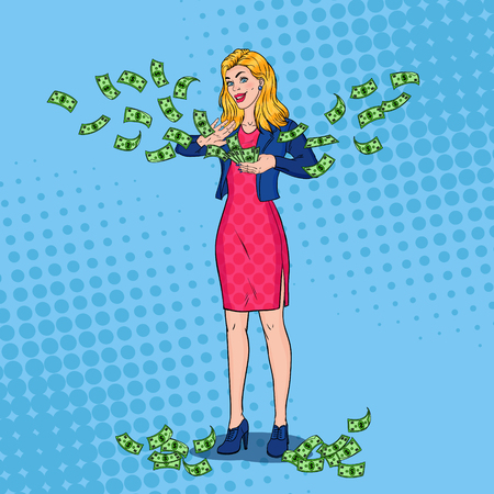 Pop Art Rich Woman Throwing Dollar Banknotes. Successful Blonde Girl with Money. Иллюстрация