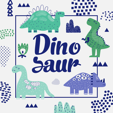 Cute Dinosaurs Design. Creative Childish Background with Dino for Cover, Decoration, Prints. Vector illustration 矢量图像
