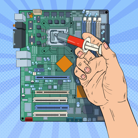 Pop Art Male Hand of Computer Engineer Repairing CPU on Motherboard. Maintenance PC Hardware Upgrade. Vector illustration