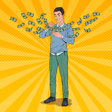 Pop Art Rich Man Throwing Dollar Banknotes. Successful Businessman with Money. Vector illustration