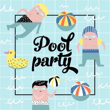 幼稚的设计与可爱的男孩在游泳池矢量插图