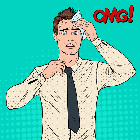 Pop Art Nervous Business man Stressed Office Worker Vector illustration