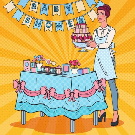 Pop Art Baby Shower Decorator with Party Decoration and Cake. Child Birth Celebration. Vector illustration Illustration