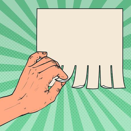 Pop Art Male Hand Tear a Piece of Blank Advertising. Vector illustration