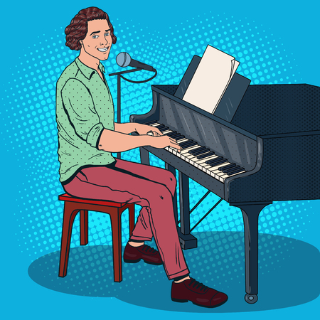 Pop Art Musician Playing Piano and Singing into the Microphone Male Singer Vector illustration