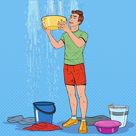 Pop Art Worried Man Holding Bucket and Collecting Water from the Ceiling. Damaged Roof. Vector illustration