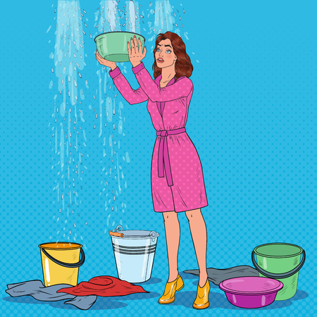 Pop Art Worried Woman Holding Bucket and Collecting Water from the Ceiling. Damaged Roof. Vector illustration Vectores