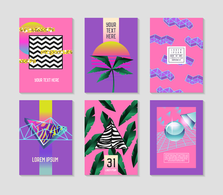 Abstract Tropical Poster Templates Set with Palm Leaves and Geometric Elements. Hipster Fashion 80s-90s Memphis Style Brochure Banners Flyer. Vector illustration Illustration