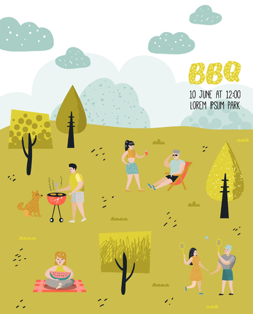 Park Landscape with Active People on BBQ Party. Friends on Summer Barbeque and Grill. Barbeque Poster, Banner, Invitation. Vector illustration