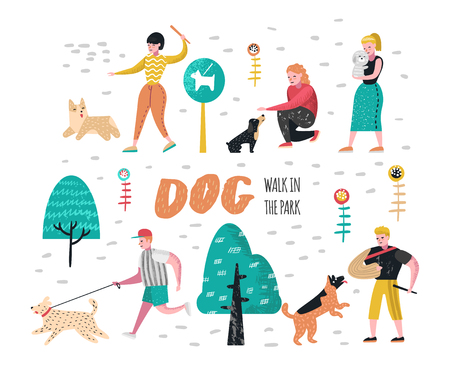 People Training Dogs in the Park. Characters Walking Outside with Pets. Vector illustration