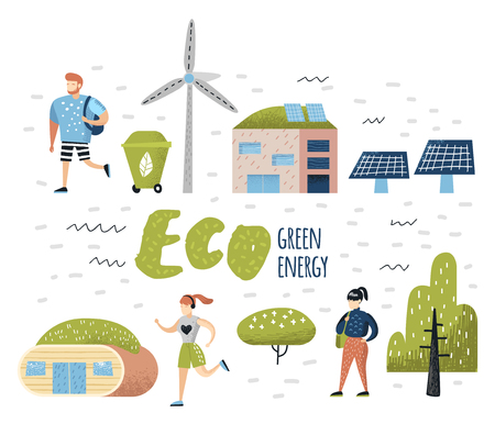 Green Town Concept. Environmental Conservation. Eco City Future Technologies For Preservation of the Planet. Alternative Energy Ecology Background. Vector illustration Stock fotó - 101168683