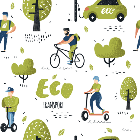 Patrón sin fisuras con personas que viajan en transporte ecológico. Fondo de transporte urbano verde de la ciudad. Concepto de ecología con bicicleta, Pushscooter, coche eléctrico. Ilustración vectorial Foto de archivo - 101168684