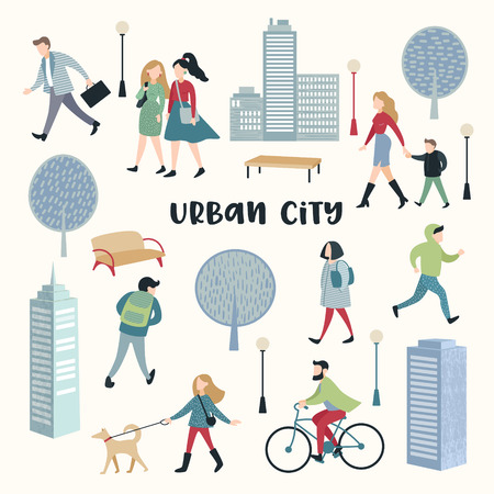 People Walking on the Street. Urban City Architecture. Characters Set with Family, Children, Runner and Bicycle Rider. Vector illustration Banque d'images - 101168689