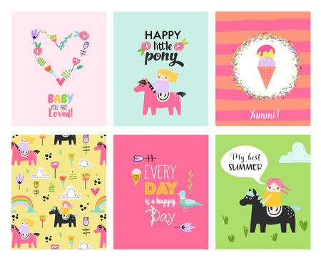 Tarjetas de bebé con niñas dibujadas a mano en ponis. Carteles infantiles para decoración de fiestas infantiles. Ilustración vectorial