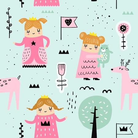 Modèle sans couture dessiné à la main avec petite princesse. Fond enfantin créatif avec de jolies filles et animaux pour tissu, textile, papier peint, décoration, impressions. Illustration vectorielle